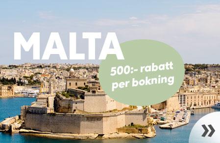 500:- rabatt till Malta